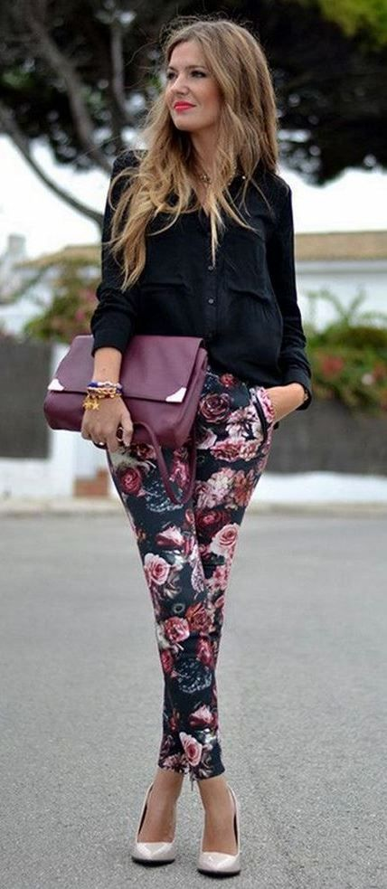 cute office style outfit: shirt + printed pants + heels + bag