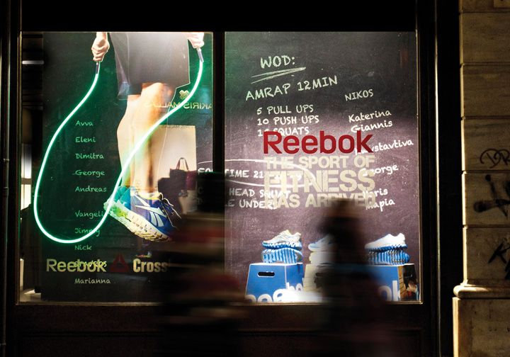 Reebok window display by Onoma Architects, Athens visual merchandising