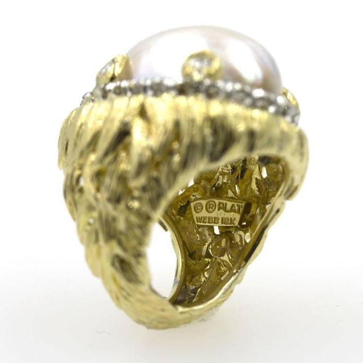 David Webb Cultured Pearl Diamond  Ring 3