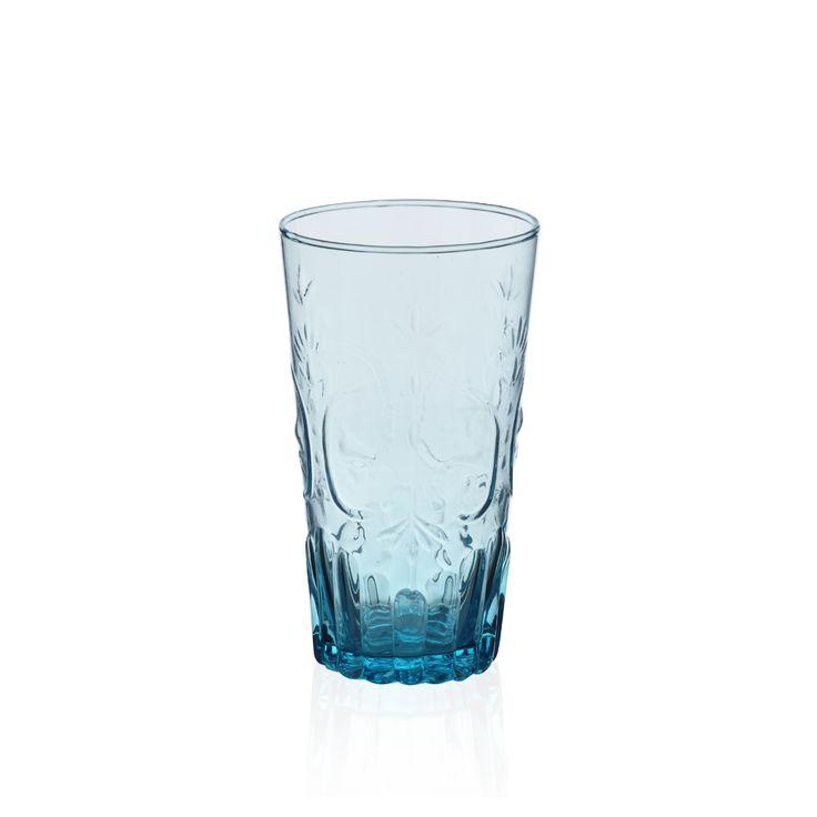 Bernardo Mavi Kabartmalı Bardak #drinking #glass #blue #tabledesign