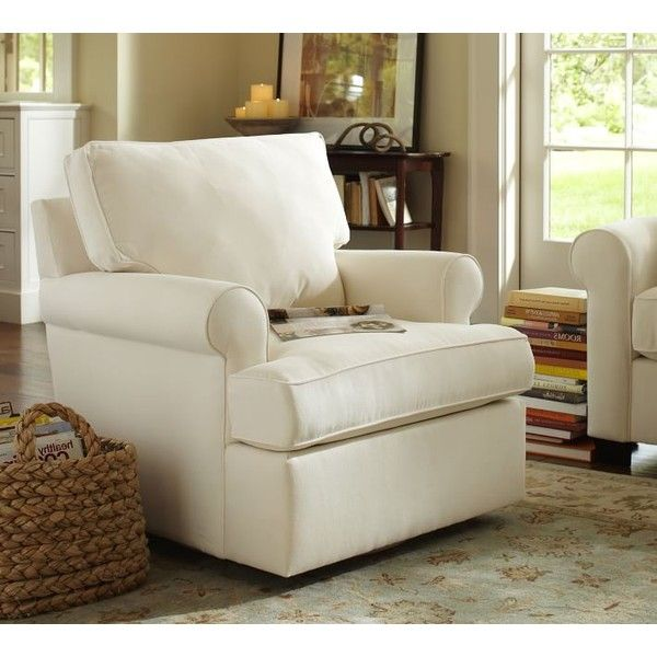 Pottery Barn Buchanan Roll Arm Upholstered Swivel Armchair Found On  Polyvore Featuring Polyvore, Home, Part 59