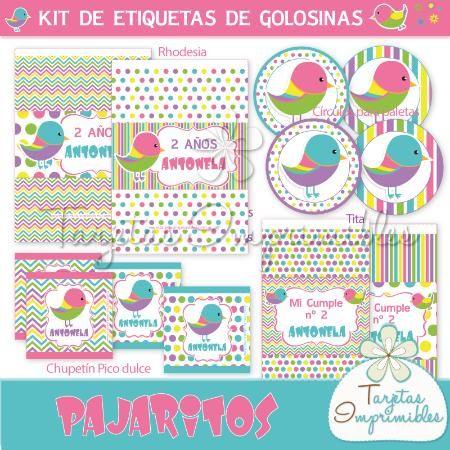 Etiquetas de golosinas para candy bar con pajaritos