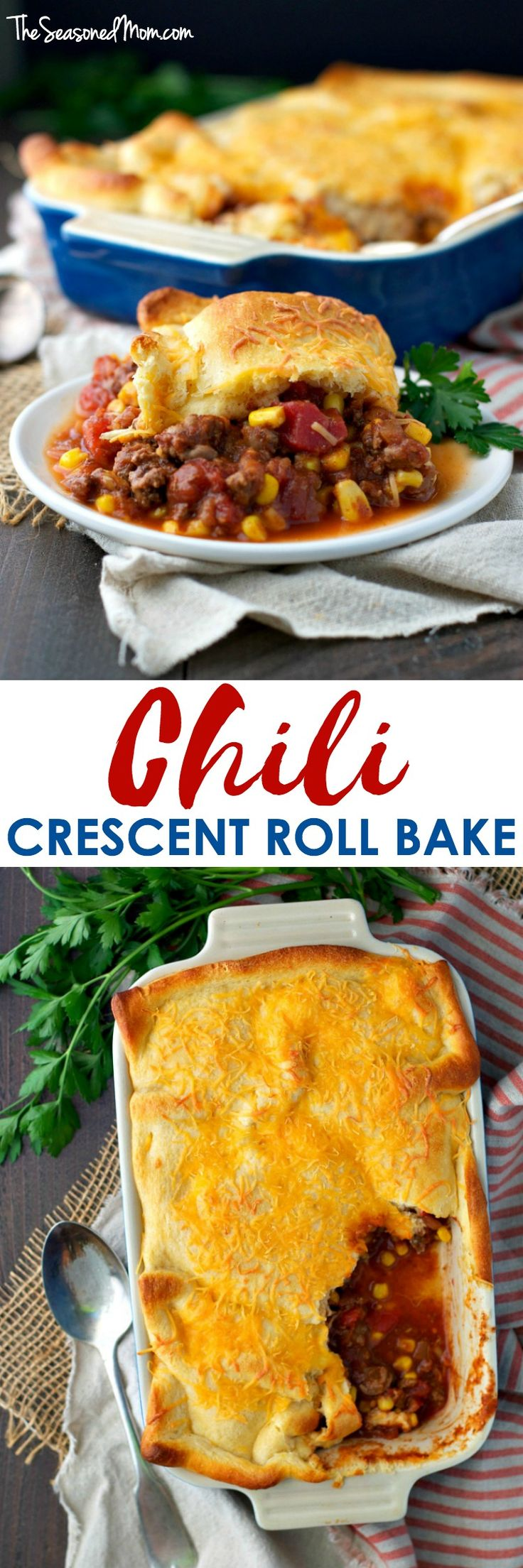 This cozy Chili Crescent Roll Bake is an easy dinner that's ready in 30 minutes! The hearty beef and corn chili is topped with a cheesy cheddar crescent roll crust for a comfort food casserole that the whole family will love!