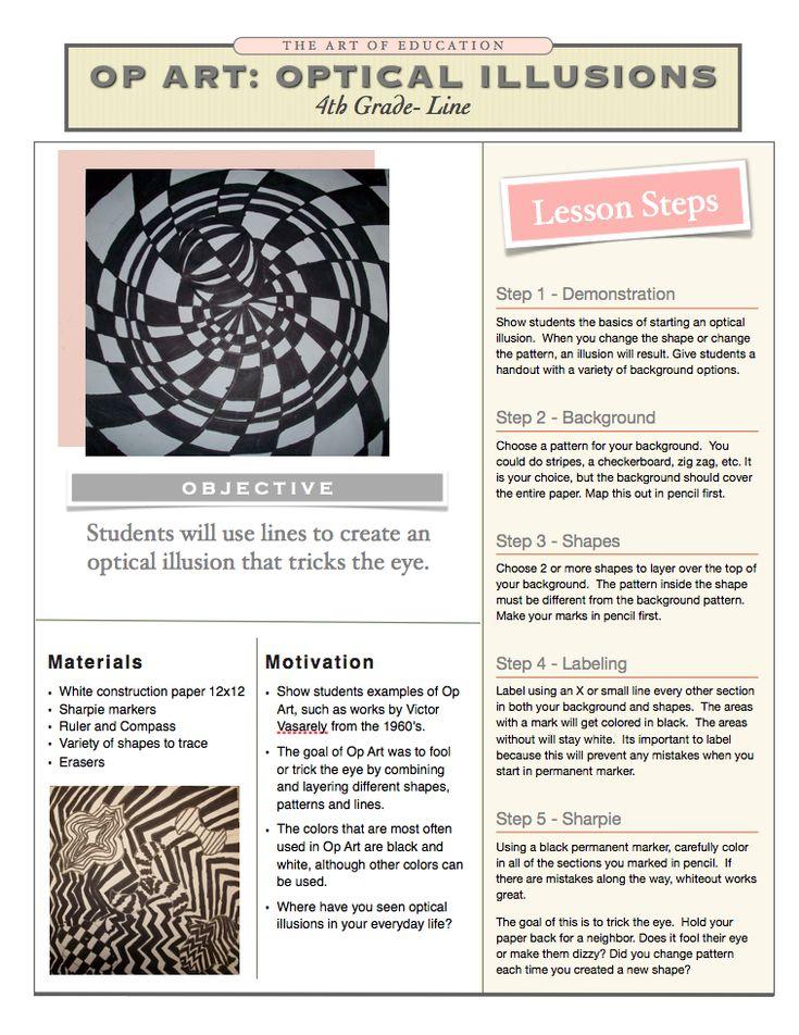 Line Art Lesson Plans : Downloadable pdf optical illusion line shape pattern