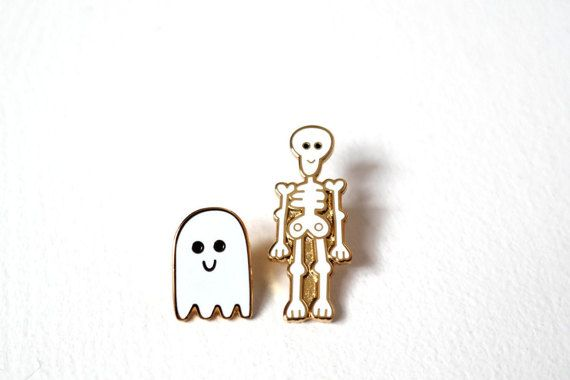 Skeleton & Ghost Pin Badges Halloween Pins Ghost Pin by RockCakes
