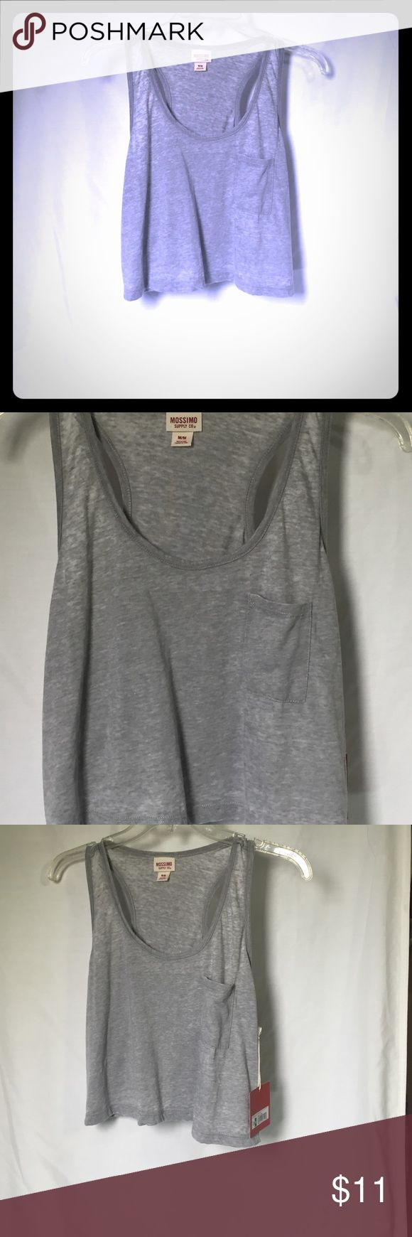 Mossimo burnt out gray crop razorback tank top New with tags. Gray mossimo tank top/ crop top. Pocket on front. Size medium mossimo Tops Crop Tops