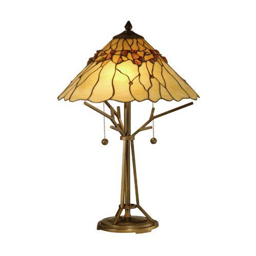 Antique Bronze Paint Branch Base Tiffany Table Lamp