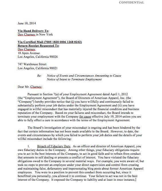 american apparel ceo dov charney termination letter buzzfeed news - job termination letters