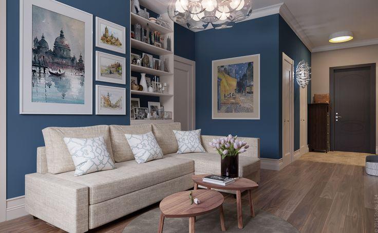 Дизайн гостиной в стиле современной классики в трехкомнатной квартире в Москве.