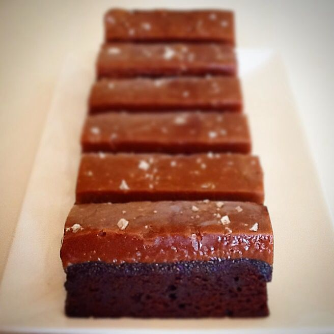 Gourmet salted caramel fudge Choc brownie.