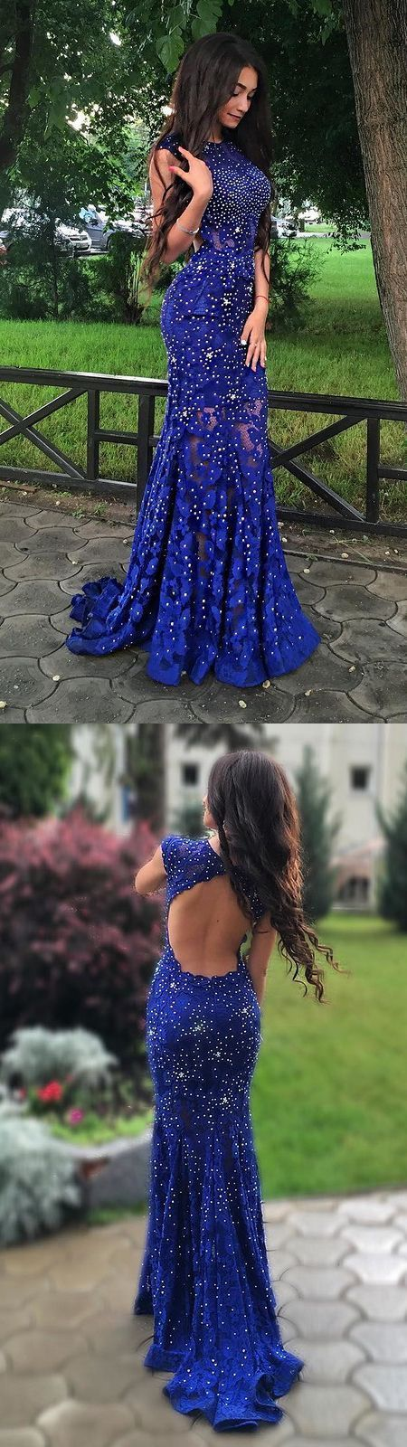 2017 Royal Blue Beading Mermaid Style Prom Dress Sexy Backless Evening Dress