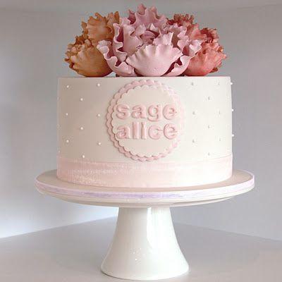 Love this cake - the fondant peonies & dots! Tooo sweet! CoutureCupcakes
