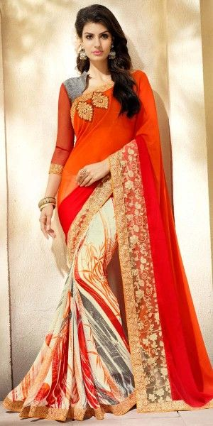 Eye-Catchy Orange And Multi-Color Georgette Printed Saree.