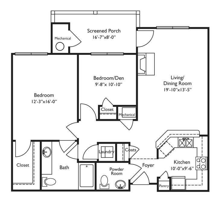 Floor plans for retirement homes. Looks wheelchair-accessible. Screened porch is a nice touch.