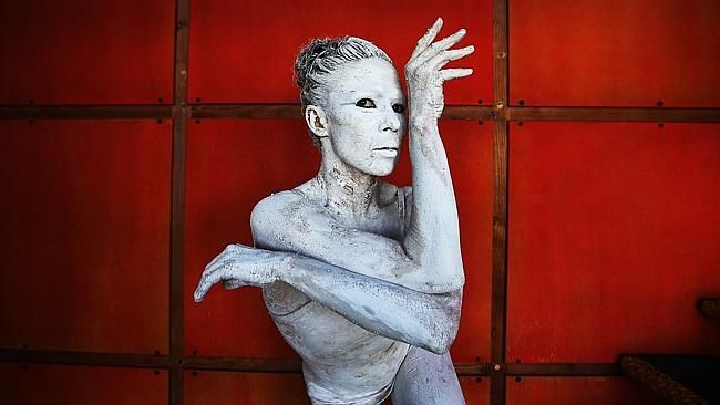 Tara Gower from Bangarra Dance Theatre at Walsh Bay in Sydney preparing for the company's