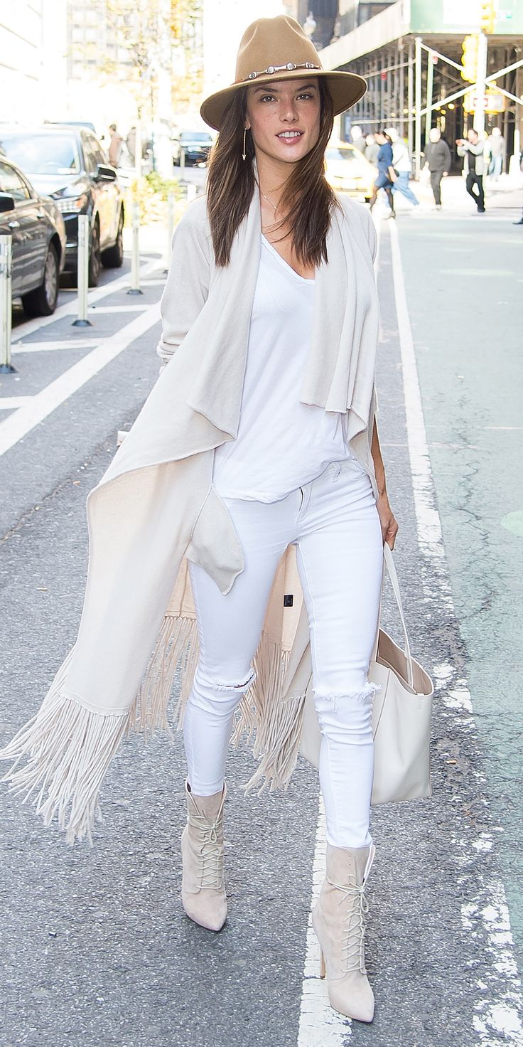 7 A-List Looks That Prove It's Possible to Wear White Jeans in the Winter - Alessandra Ambrosio  - from InStyle.com