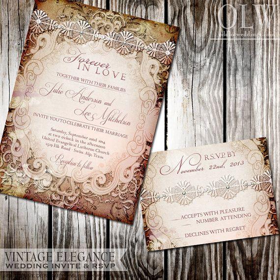Vintage Victorian Wedding Invite and RSVP Card - Wedding suite - Digital Printable Files@jet0519