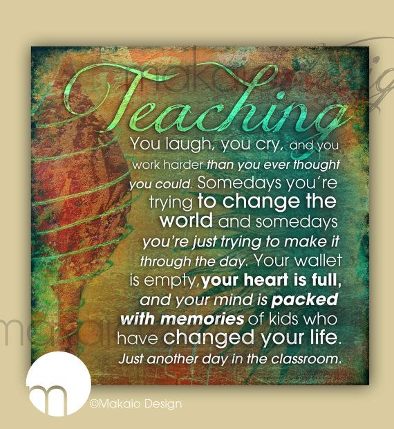 TEACHING Quote 12 x 12 Canvas Gallery Wrap. $49.00, via Etsy.