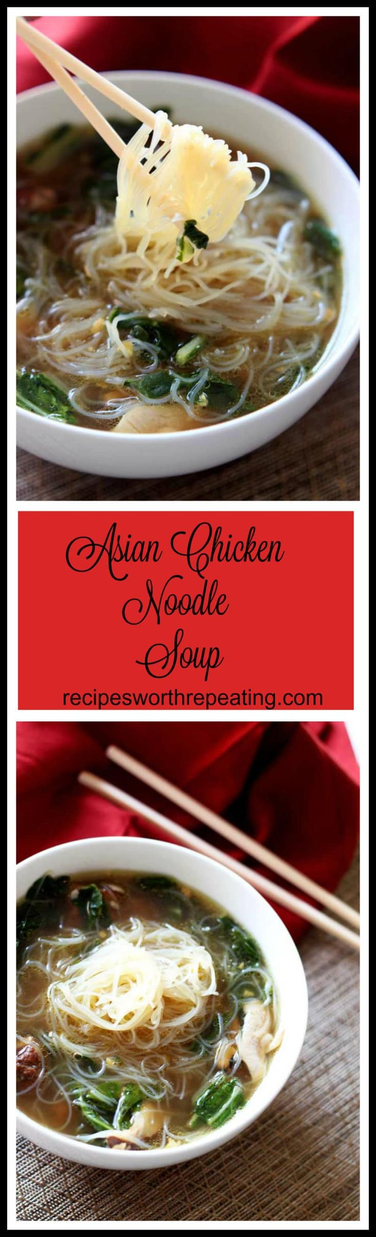 This Asian Chicken Noodle Soup has an amazing authentic taste! The chicken marinated in Chinese Five Spice makes it amazingly tender...it melts in your mouth! The gluten free Mei Fun in this savory soup paired with the fresh ginger and garlic makes this dish over the top! Nothing screams savory like homemade chicken noodle soup...especially with an Asian flair!!