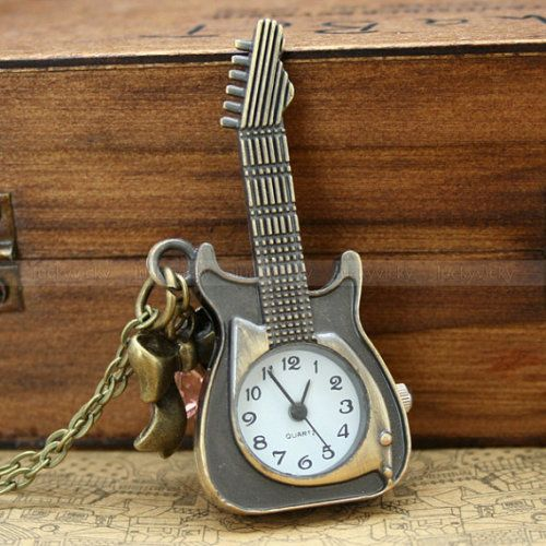 Vintage pocket watch necklace with antique bronze guitar pendant and bow tie charm and crystal charm