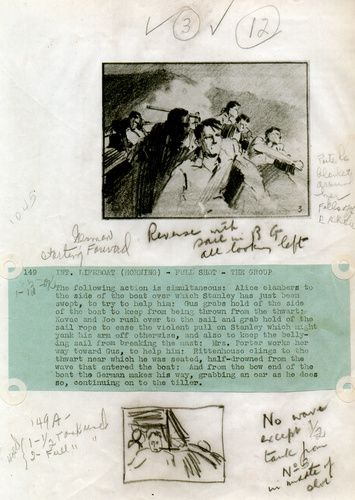 Storyboard with shooting script from ''Lifeboat''.