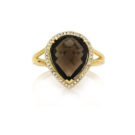 Mark Broumand 4.83ct Pear Shaped Rose Cut Smoky Quartz and Diamond... ($895) ❤ liked on Polyvore featuring jewelry, rings, yellow gold, diamond jewelry, brown ring, smoky quartz jewelry, brown jewelry and pear cut diamond ring