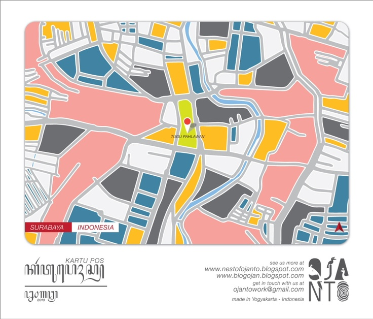 Indonesian City Maps Postcard Series (January 2013) | Surabaya - Indonesia | special spot : Tugu Pahlawan | Postcard Design by Ojan