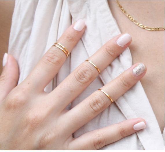 2016 Новый Женщины Моды Золото/Серебро/Роуз Позолоченные Металл Изысканные Каждый Кольца Палец Кольцо Укладки Миди Кольца для Женщин Золотое Кольцо
