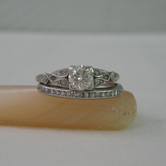 Vintage Diamond Engagement Ring and Wedding Band Set. Platinum and Diamonds. 1930s.