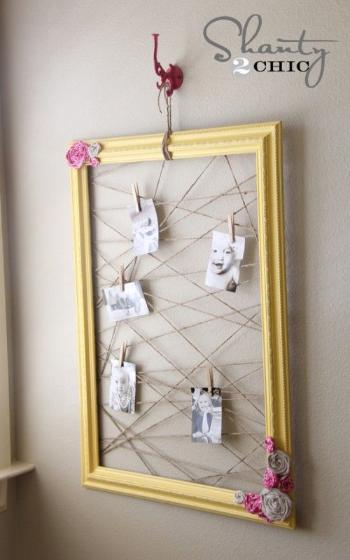 memo frame by stapling twine within a frame
