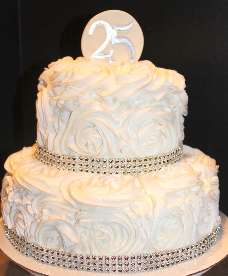 25th Wedding Anniversary Rosette cake — Anniversary