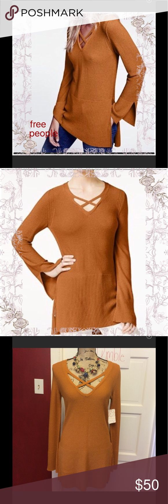 🦉Free People Criss Cross Tunic Sweater Ginger 🦉 New with tags soooo pretty and these are so comfy Free People Sweaters V-Necks