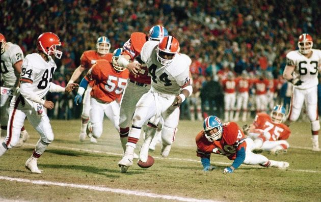 """The Fumble""- During the AFC Championship, one year after ""The Drive"", with 1:12 left in the game, Browns running back Earnest Byner appeared to be on his way to score the game-tying touchdown, but fumbled at the 2-yard line. The Broncos consequently won the game and went to the Super Bowl."