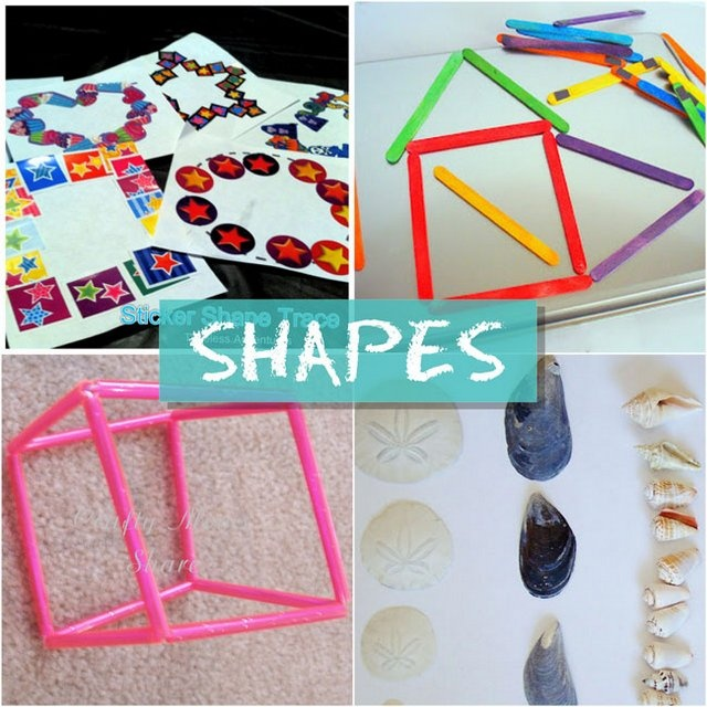 Activities for learning shapes = like the magnet popsicle sticks on cookie sheet