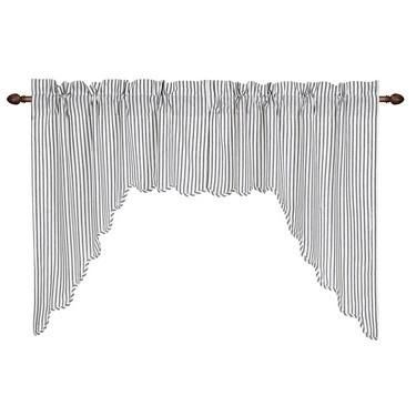 Josephine Black Scalloped Lined Swag Curtains - Primitive Star Quilt Shop