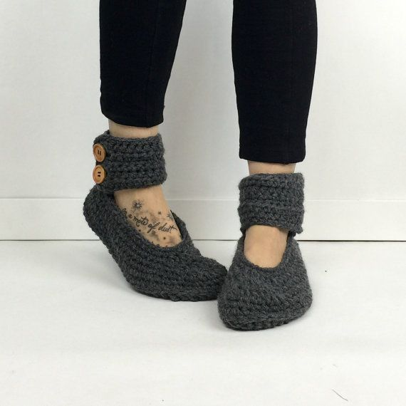 Women's Crochet Dark Gray Ankle Strap Slipper Boots, Crochet Slippers, Knitted Booties, House Shoes, Ballet Flats, Dark Grey Slipper Socks