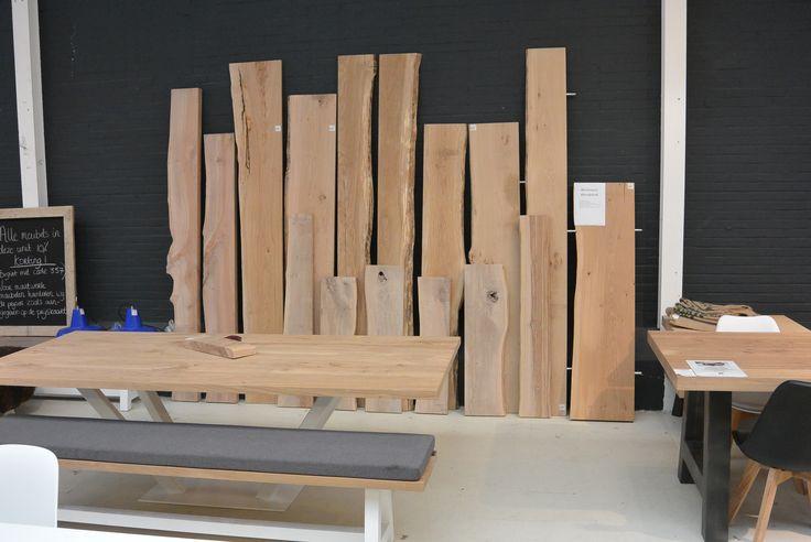 Boomstam wandplanken, elke dikte, diepte en lengte is mogelijk bij Leven in Stijl meubelatelier