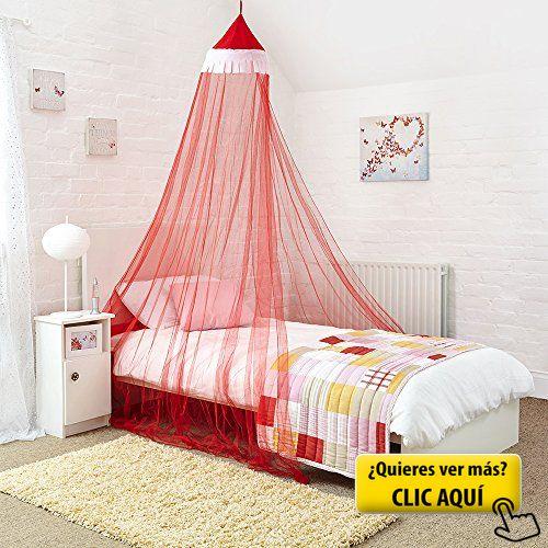 Princesa cama con dosel–Atractivo rojo y... #cama #niña