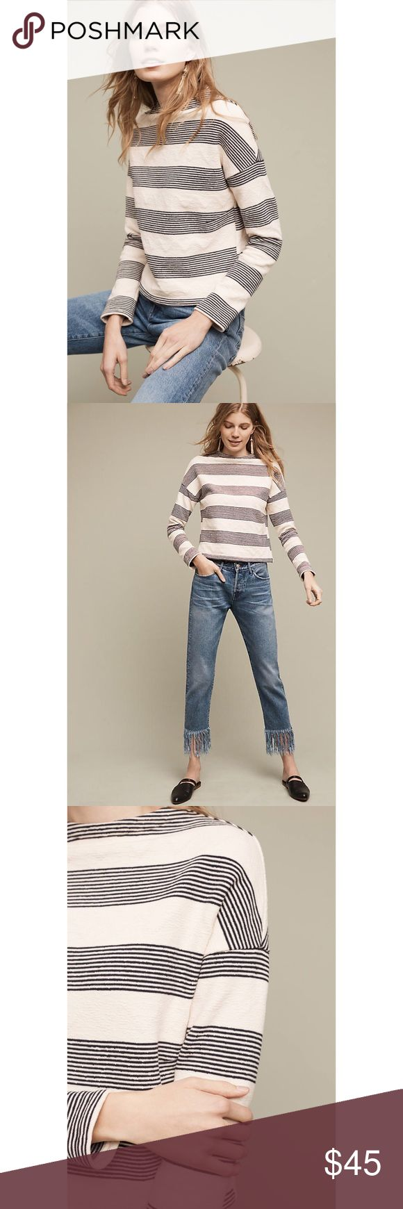 NWT Anthropologie Striped Sweatshirt Size Small NWT! Off-white sweatshirt with stripes. I bought this in store without trying it on. It didn't look right on me, but I missed the 30 day return window. It's in perfect condition! Anthropologie Tops