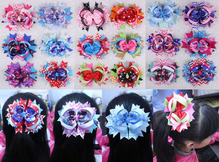 Wholesale 18/30/50/90pc 5inch Disney Frozen Dot Ribbon Hair Bows Clip Mix model #Handmade