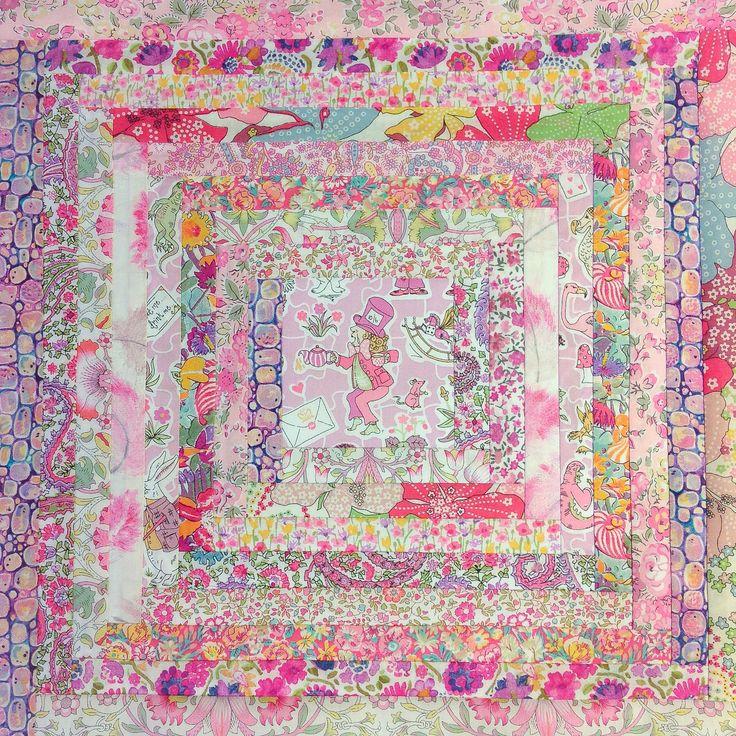 Alice in Wonderland-themed Liberty of London print Log Cabin Mini Cushions (progress shot, top only)  Rhapsody and Thread via Etsy @rhapsodyandthread