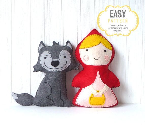 Little Red Riding Hood and the Big Bad Wolf Sewing Patterns, Stuffed Animals, Felt Animals, Hand Sewing esty $10