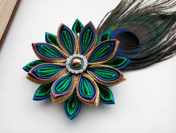 Peacock feather flower hair clip /Hair by AirinFlowers on Etsy