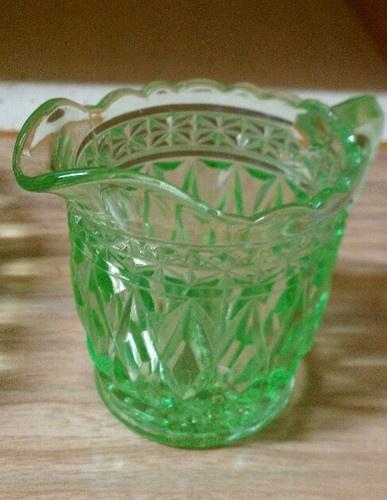 Vintage Green Glass Small Bowl AND Milk JUG | eBay