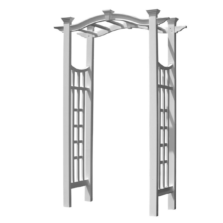Shop New England Arbors 49-in W x 99.25-in H White Vinyl Pergola Style with a Slight Arch Garden Arbor at Lowes.com