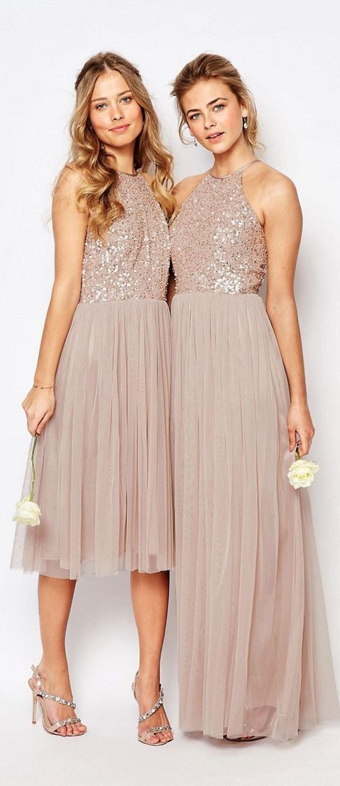 Tulle Dresses With Tonal Delicate Sequins