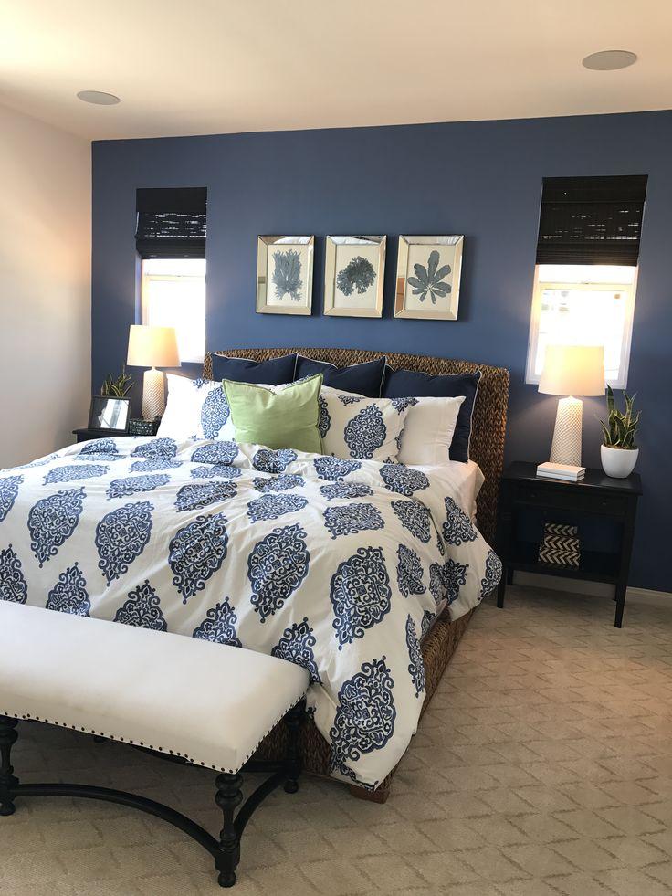 dark blue accent wall  blue master bedroom master