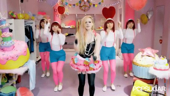"""Pin for Later: All the Things You See in Avril Lavigne's """"Hello Kitty"""" Video Avril Gets Her Dance on With All the Stone-Faced Background Dancers"""