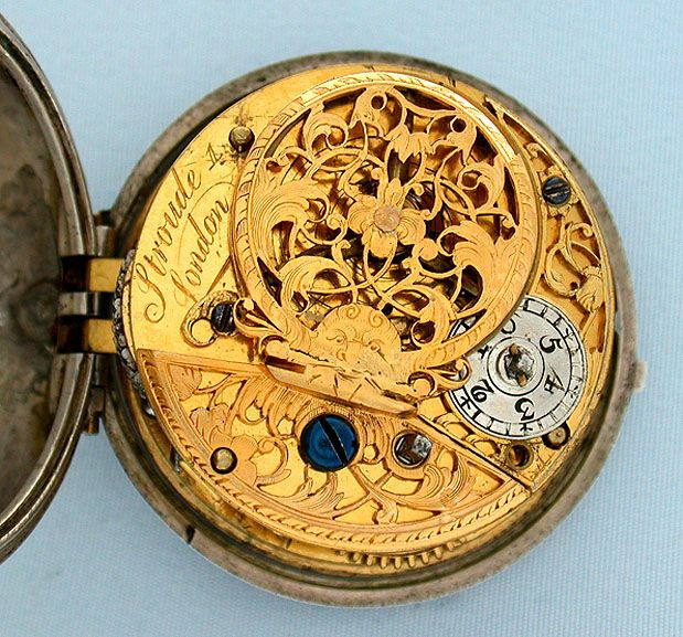 Back side of beautiful pocket watch, an 18th century English fusee I believe, with wind indicator