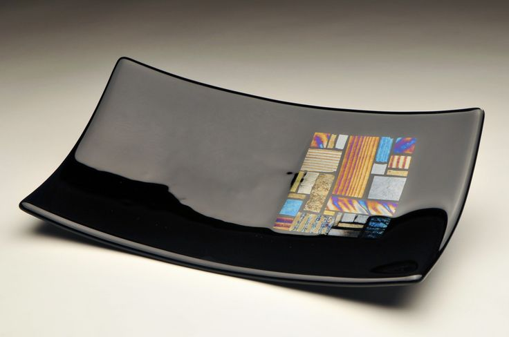 Black with Irid Squares- Fused Glass Art I made in my studio!